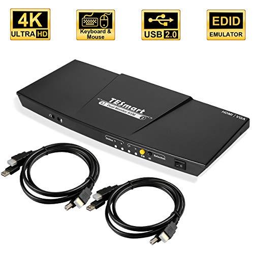 TESmart Doppel Monitor KVM Switch,4K Ultra HD mit 3840 x 2160 bei 30 Hz 4:4:4; unterstützt USB 2.0 Gerätebedienung bis max. 2 Monitore und 4 Computer/Server/DVR mit 2 Stück 5ft HDMI KVM Kabeln -
