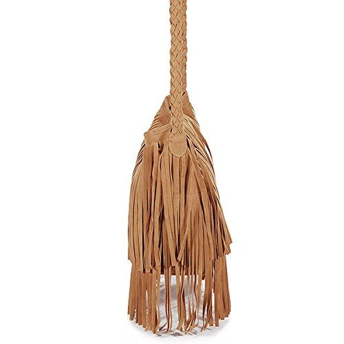 Fashion Fransen Damentasche Beutel Taschen Schultertasche Umhängetasche PU Wildleder mit Reissverschluss braun