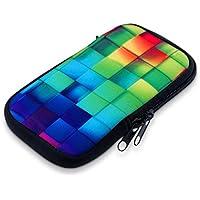 """kwmobile Funda de neopreno para móvil para smartphones M - 5,5"""" - Funda para smartphone carcasa protectora con Diseño Cubos de colores multicolor verde azul - compatible por ej. con Samsung, Apple, Wiko"""