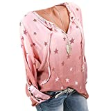 UFACE Damen Brief Button Langarm Top Plus Größe V-Ausschnitt Button Langarm Brief Bluse Pullover Tops Shirt