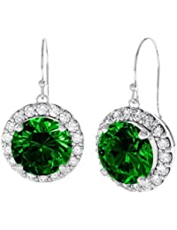 Stardust 2.3ct Emerald and Diamond Halo Silver Drop Earrings (WHITE GOLD)
