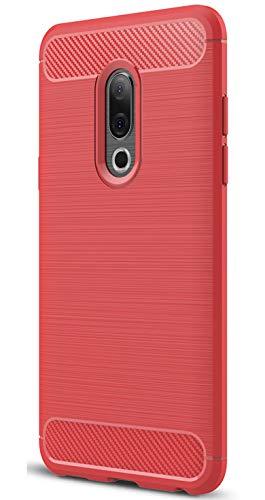 XINFENGDI Meizu 15 Plus Hülle, Tasche mit Stoßdämpfung Robuste TPU Stylisch Karbon Design Handyhülle Case Hülle für Meizu 15 Plus - Rot