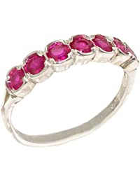 Luxury Solid Sterling Silver Vibrant Natural Ruby Eternity Ring
