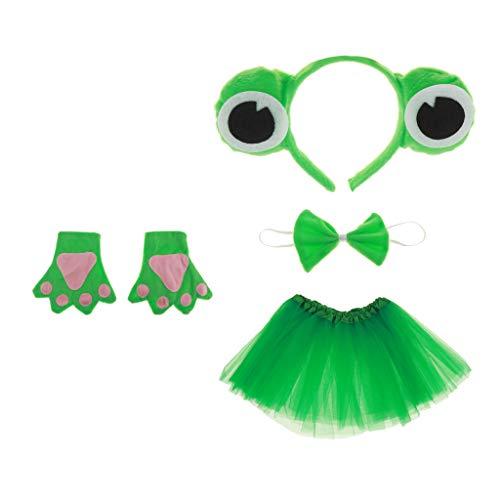 (Gazechimp Kinder Froschkönig Kostüm Set - Haarreif, Fliege, Handschuhe, Tutu, Geschenk zum Geburtstag oder Weihnachten Cosplay Party Kostüm)