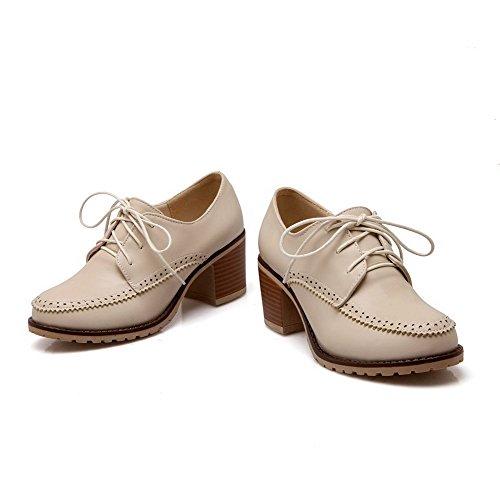 AllhqFashion Damen Rund Zehe Schnüren Pu Leder Rein Mittler Absatz Pumps Schuhe Cremefarben