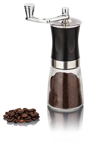 Manual Coffee Grinder with Ceramic Grinding Mechanism, Glass, Can Be Continuously Adjusted Manual Coffee...