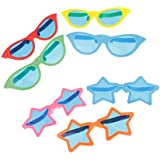 Phenovo Novelty Colorful April Fool's Day Five-pointed Star Sunglasses Costume Cosplay Halloween Glasses Party Favors Fun Photo Booth Props Hen Night Party Accessories Pack Of 7