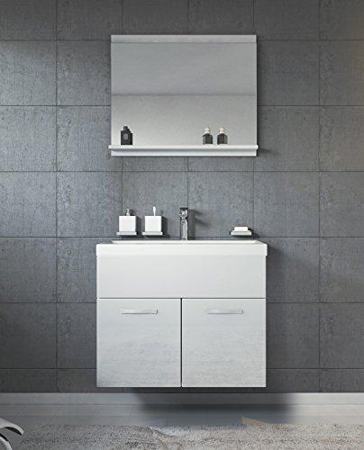 Badezimmer Badmöbel Montreal 02 60cm Waschbecken Hochglanz Weiß Fronten - Unterschrank Waschtisch Spiegel Möbel