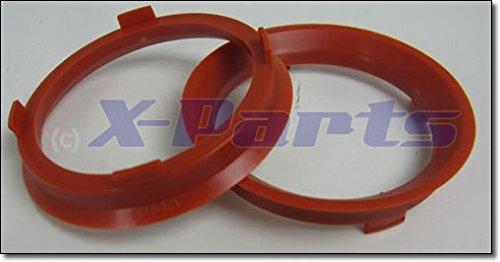 Juego de 4Llantas centrar anillos 66,6mm a 57,1mm rojo Llantas de aleación
