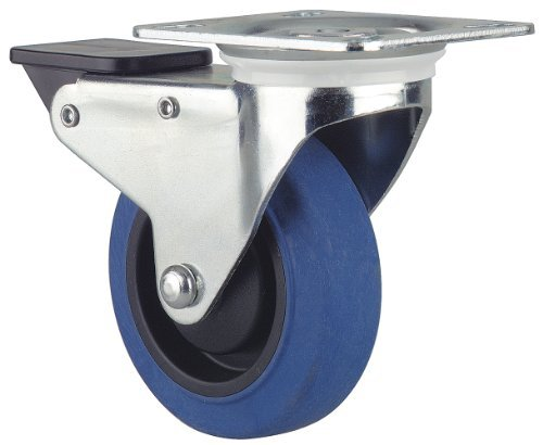 Revvo Caster Sovereign Series Plate Caster, Swivel with Brake, Rubber Wheel, 264 lbs Capacity, 4 Wheel Dia, 1-3/16 Wheel Width, 5 Mount Height, 4 Plate Length, 3-1/8 Plate Width by Revvo Caster