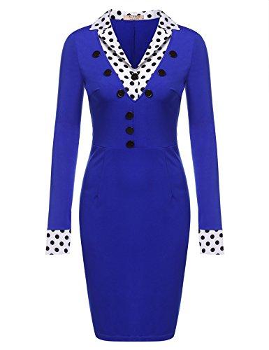 ZEARO Damen Patchwork Bleistiftkleid Langarm V-AusschnittPunkt Blusenkleid Minikleid Abendkleid Knielang Elegant Blau