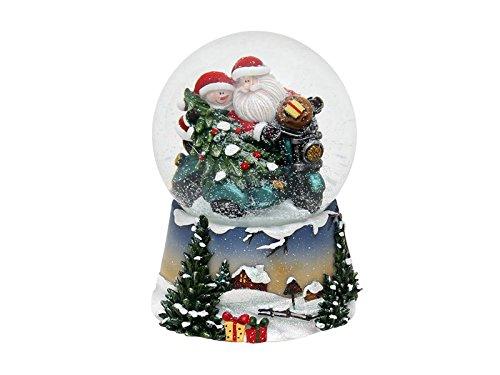 Dekohelden24 Schneekugel, Santa im Motorrad, mit Sound, H/B/Ø Kugel: ca. 14,5 x 10,5 cm/Ø 10 cm.
