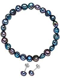 Valero Pearls Damen-Schmuckset Armband + Ohrringe Ohrstecker 925 Silber rhodiniert Perle Süßwasser-Zuchtperle