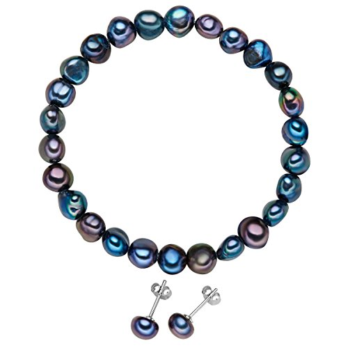 Valero Pearls - Juego de pulsera y pendientes - Perlas de agua...