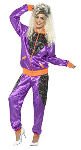 Women's 80s Fitness Shellsuit Costume, Orange and Purple, Sizes 8-10, 12-14, 20-22