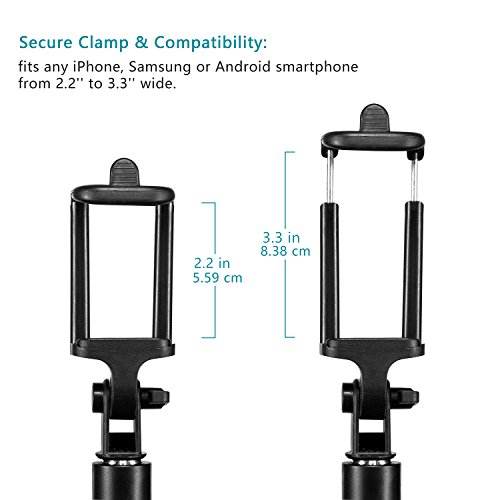 Bluetooth Selfie Stick, Alfort Multifunktionaler Selfie Stangen Erweiterbar Ausfahrbar Stab mit Stativ und Bluetooth Fernbedienung für iPhone 7 / 6S / 6 Plus / SE / 5S / 5C / 5, Samsung Galaxy S7 / S7 Edge, LG G6, HTC M9 M8, Sony Z5 Z4 Z3 Compact, Android und andere Smartphones (Schwarz) - 3
