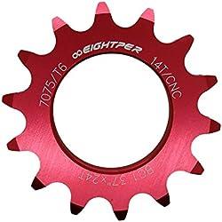 Piñon Fijo para Bicicleta Fixie Single Speed Ruder Berna 14T Aluminio Color Rojo Mecanizado CNC 3610