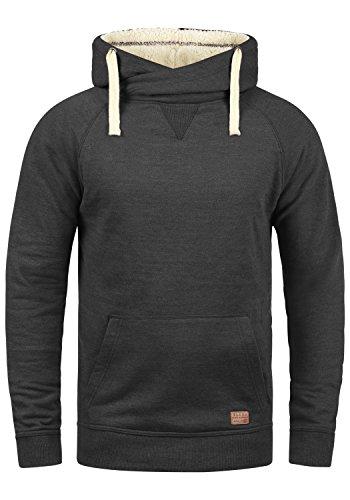 BLEND Sales Teddy Herren Kapuzenpullover Hoodie Sweatshirt mit Teddy-Futter und Crossover-Kragen aus hochwertiger Baumwollmischung Meliert, Größe:S, Farbe:Charcoal Mix Teddy (75124) (Grau Crossover)