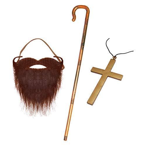 (Robelli Jesus Kostüm-Zubehör (brauner Bart, Kruzifix-Halskette, Gabel))