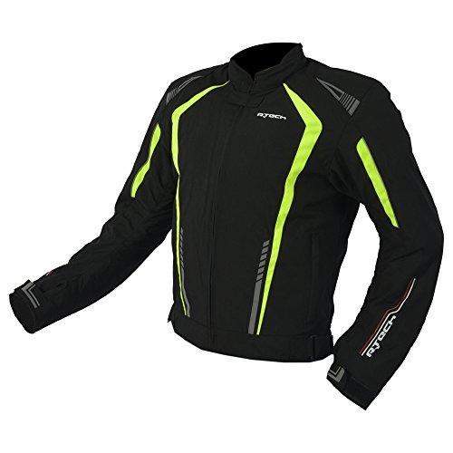 Winter Textil Jacke r-tech Marshal CE angenommen XL Schwarz/Neon-Gelb (Motorrad-jacke Mesh-tech)