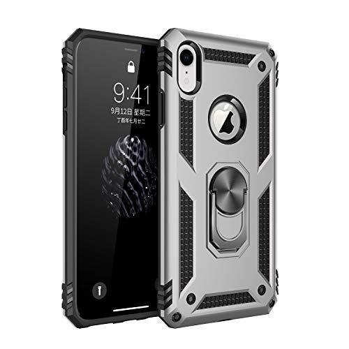 Pacyer Custodia compatible con iPhone XR con Anello di Aggancio Dito Supporto Magnetico Duty Armor Silicone Cover Shockproof AntiGraffio Case per Apple iPhone XR (Argento)
