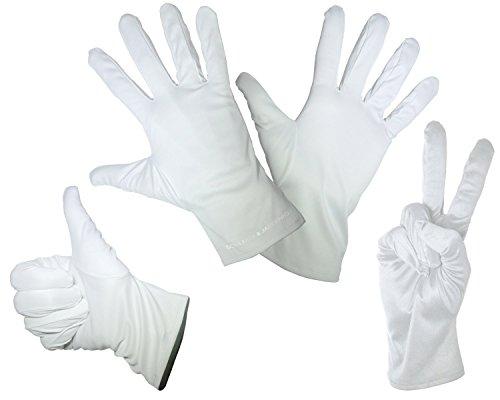 1 Paar feine Mikrofaser Handschuhe - Weiss - In den Größen: S M L XL - Zum Reinigen / Putzen, Verkleiden für Karneval - Handschuh für ein Pantomime Kostüm gut - Basic Engel Kostüm