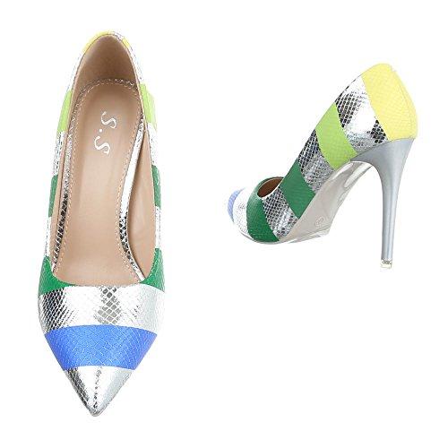 Damen Pumps Schuhe High Heels Stöckelschuhe Stiletto Beige Gold Silber 36 37 38 39 40 Silber