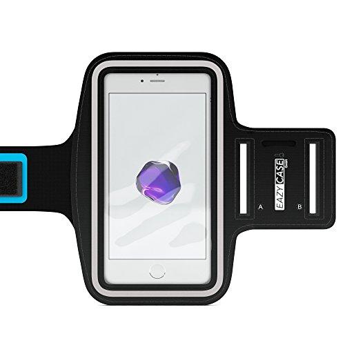 EAZY CASE Sport Armband für Smartphones bis 5,5 Zoll, schweißfest I Sportarmband Unisex, Sporthülle, Handyhülle, Armtasche mit Kopfhöreröffnung & Schlüsselfach, Schwarz -