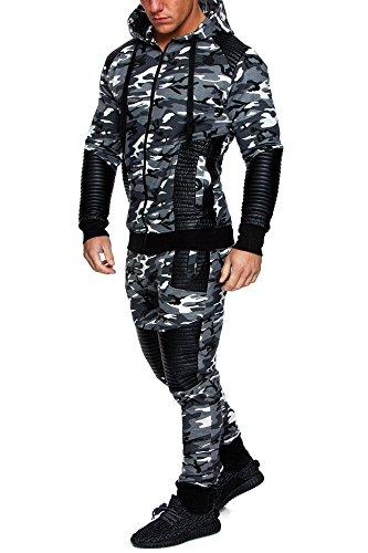 Amaci&Sons Herren Biker Camouflage Sportanzug Jogginganzug Trainingsanzug 2Teiler K1