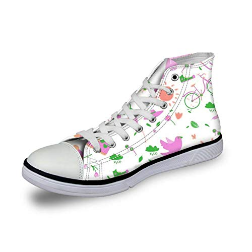 Floral Canvas Shoes Women Hi Tops Casual Walking Sneakers Flat Plimsolls Pumps White CC3432AK UK 6