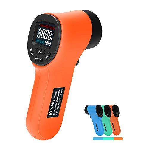 Mopei termometro a infrarossi termometro laser digitale pistola infrarossi range da -50°c a 550°c, lcd retroilluminato, emissività regolabile (arancione)