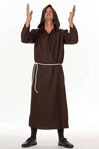 spass42 Herren Kostüm Mönsch Priester Pater Gewand Robe Mönchskutte Klosterbruder Mittelalter Halloween Groesse: 4XL/5XL