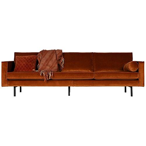 3 Sitzer Sofa RODEO Samt rostfarben Couch Garnitur Loungesofa Couchgarnitur