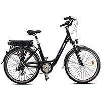 Vélo électrique ville mod. SIDNEY urbanbiker , Baterie Lithium Ion 468 Wh (13 Ah 36 V ), 7 vitesses, Taille 44, noir / argent .