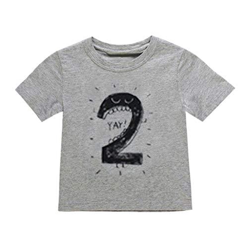 Julhold Neugeborenes Baby Kinder Junge Mädchen Freizeit Anzahl Cartoon Lässige Kurzarm T-Shirt T Tops Kleidung 1-6 Jahre