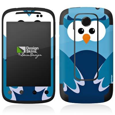 HTC Explorer Case Skin Sticker aus Vinyl-Folie Aufkleber Eule Owl Blau