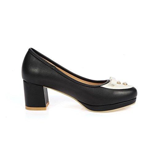 AgooLar Femme Pu Cuir Couleurs Mélangées Tire Rond à Talon Correct Chaussures Légeres Noir