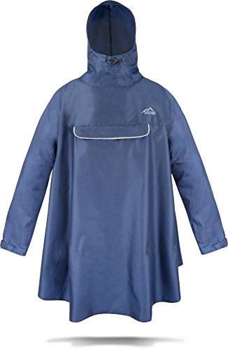 normani Regenponcho mit Ärmeln und Brusttasche für Damen und Herren [S-3XL] -YKK Brusttasche und 3MTM ScotchliteTM Reflektor Farbe Navy Größe S/M