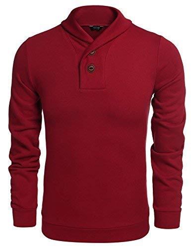 Überprüfen Sie Die Muster Mens Kleid Shirt (Coofandy Herren Mode Schalkragen Pullover-beil ufige lange H lsen-Strickpullover XX-Large Weinrot)