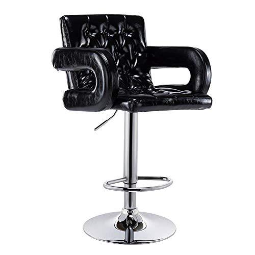 FENGFAN Drehstuhl, Beauty Roller Hocker, höhenverstellbar, mit Rollen, 360 Grad-Drehung, bequemer Stuhl mit Armlehne, Max Load 150kg (Farbe : Schwarz)