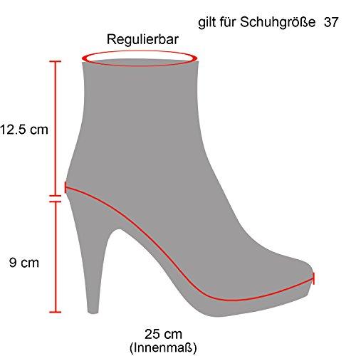 Damen Worker Boots Stiefeletten High Heels Outdoor Booties Schnürstiefeletten Wildleder-Optik Schuhe 128482 Khaki Gefüttert 38 Flandell