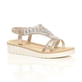 Ajvani Womens Ladies Low Wedge Heel Flatform Diamante t-Bar Slingback Sandals Size 8 41