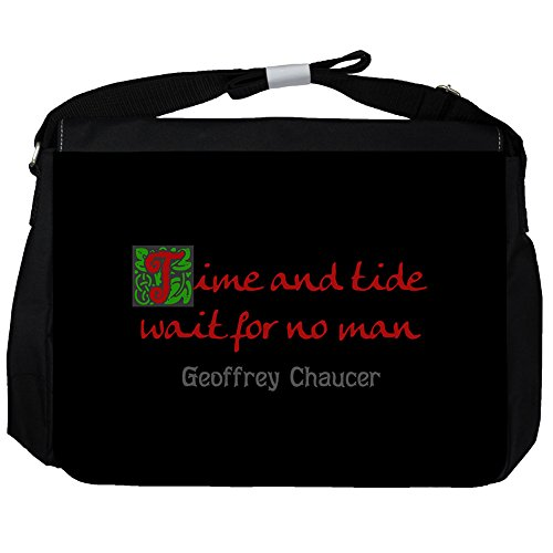 Time and tide - Geoffrey Chaucer Unisexe Sac Messenger