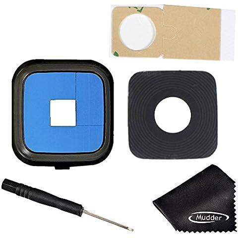 Mudder Reemplazo de Accesorios para Samsung Galaxy, Volver Anillo cubierta trasera de la lente de la Cámara + Adhesivo + Destornillador + Paño de limpieza para Samsung Galaxy Note 4 (Negro)