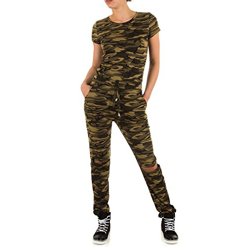 Damen Overall, CAMOUFLAGE MILITARY OVERALL, KL-M-509, Grün, L