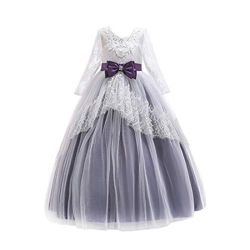 Zhhlaixing Elegant Geburtstag Hochzeit Lace Kleid Ballkleid für Mädchen - Festlich Lange Ärmel Layered Blume Prinzessin Brautjungfer Kleider