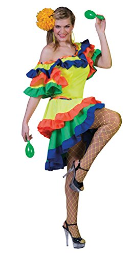 Brasilien Kostüm Tänzerin - Karneval-Klamotten Brasilianerin Kostüm Damen Brasil Kostüm Rio Samba Kleid Brasilien Karneval Damen-Kostüm Größe 44/46