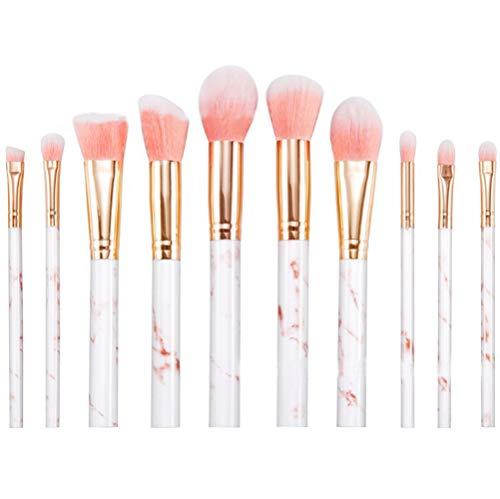 Cdet. 10Pcs Kit De Pinceau Maquillage en Visage et Oeil avec Cosmétiques Brush Ensemble Fondation Mélange Blush Yeux Poudre Brosse Make Up Série de marbre de Grain Rose