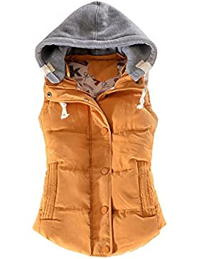 Ochenta Mujer Abrigo Sin Mangas Algodón Epais Otoño Invierno Chaleco Casual capucha deportivo