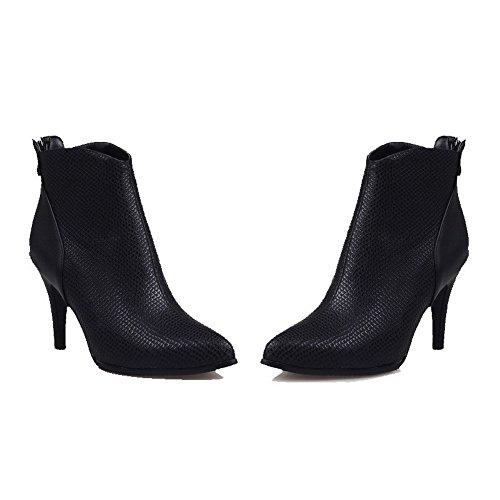 AgooLar Damen Hoher Absatz Weiches Material Niedrig-Spitze Rein Reißverschluss Stiefel Schwarz